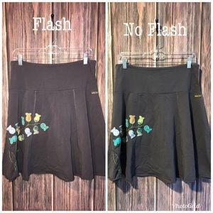 Matilda Jane Floral & Gray Cotton Swing Skirt Med